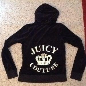 JUICY COUTURE CROWN CRYSTAL BLACK VELOUR HOODIE